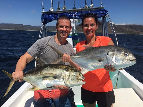 Playa Hermosa, Costa Rica: Jack Crevelles, Good fight, Catch & Release unless you make fish soup