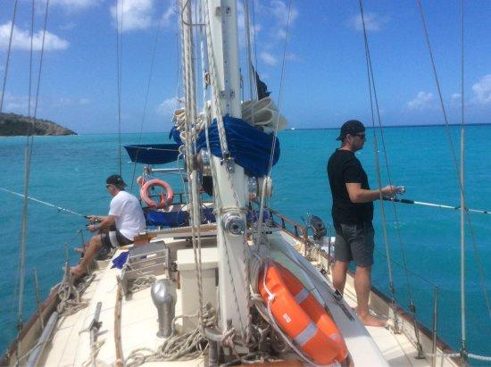 Jolly Harbour, Antigua: Fishing on board