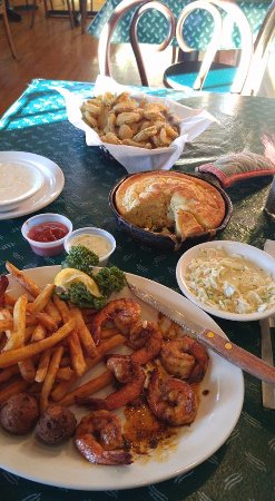 Freeport, TX: Grilled shrimp, and that's a 1/2 order of fried pickles!
