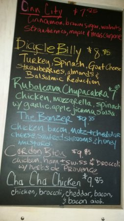Full of Crepe: The chalk board with daily specials
