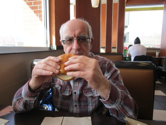 Coventry, RI: Louis eating his Filet of Fish Sandwich.