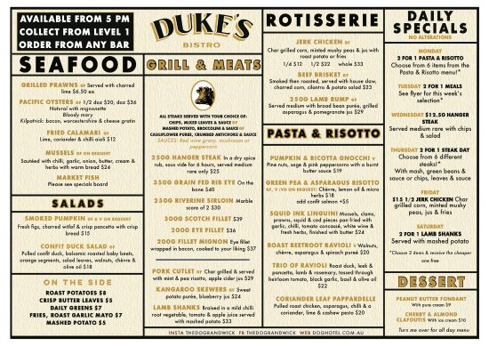 Рандвик, Австралия: Duke's Bistro Menu - Available from 5pm