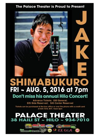 Palace Theater : Jake Shimabukuro graces the Palace stage every year in the summer time - always a sold out show!