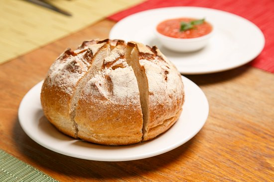 Prego's signature bread and tomato dip, a favorite of visitors!