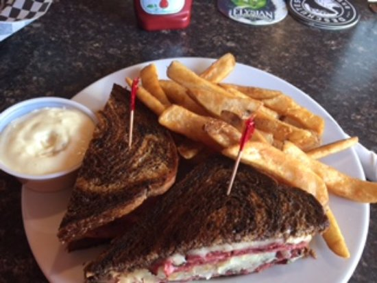 Manson, WA: Reuben sandwich and fries with a side of tartar sauce