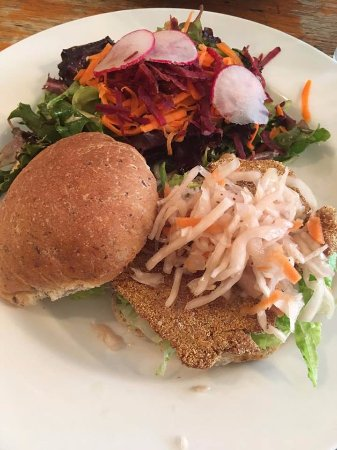St. Catharines, Canada: Seitan Burger with coleslaw