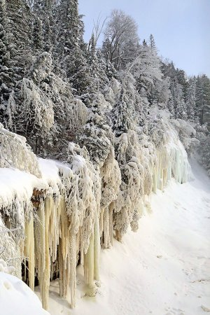 Tahquamenon Falls State Park: Note how the icicles are different shades from yellow to blue.