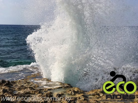 There she blows! The East End Blowholes, one of the fascinating stops on our ECO Rides Cayman To