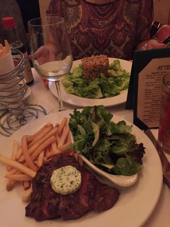 Pomme Frite: Steak frites+sumptous herbed butter, tuna tartare with avacado