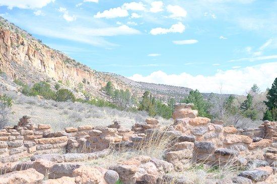 Los Alamos, NM: Bandelier pueblo remains and canyon walls