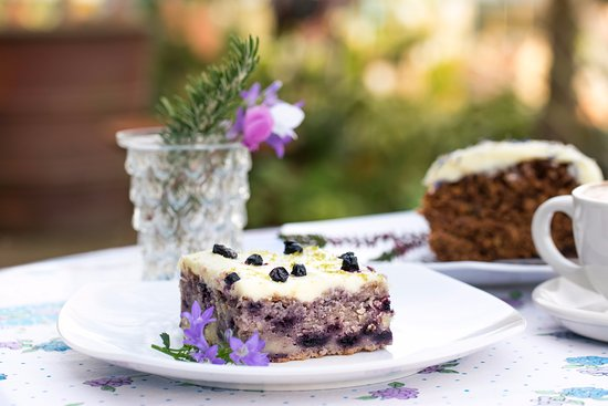 Herstmonceux, UK: Home made yogurt & blueberry cake