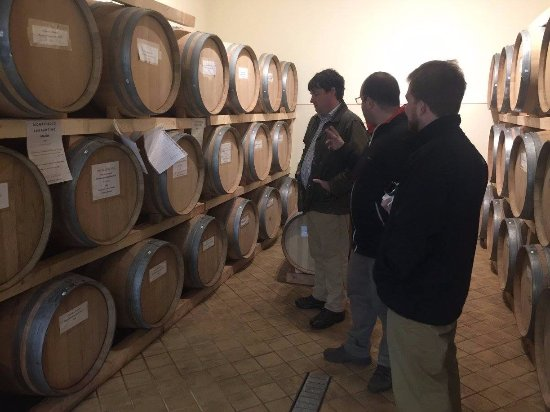 Montefalco, Italia: Tour of the vats. Looking at the special blends
