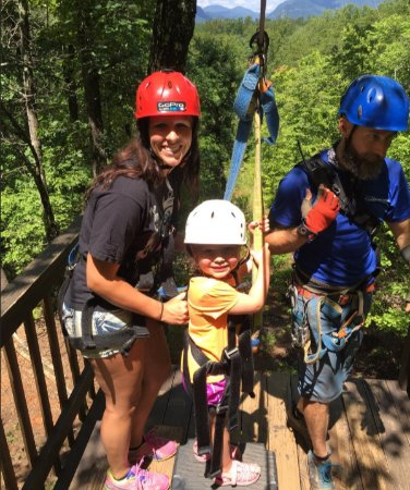 Lake Lure, NC: Mother and Daughter about to ride tandem down ZipZilla at Canopy Ridge Farm