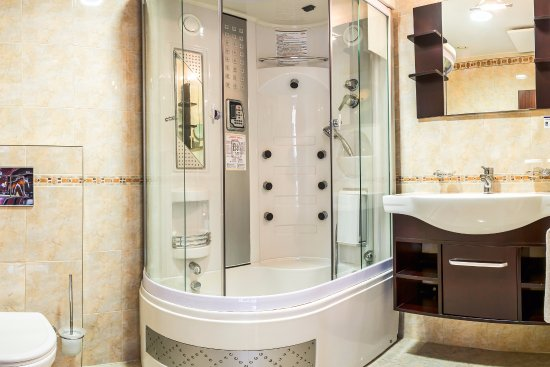 Shower stall combined with a bathtub, radio, hydro massage, steam ...