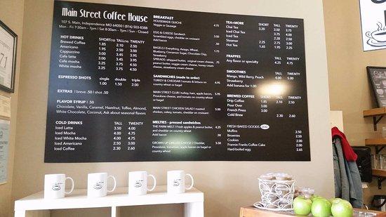 Ιντιπέντενς, Μιζούρι: Menu board ~ Main Street Coffee House