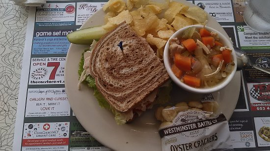 Hanover, NH: homemade chicken soup and turkey sandwich