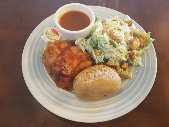 Swiss Chalet Rotisserie & Grill: Lunch 1/4 chicken with Cesar salad and multigrain roll