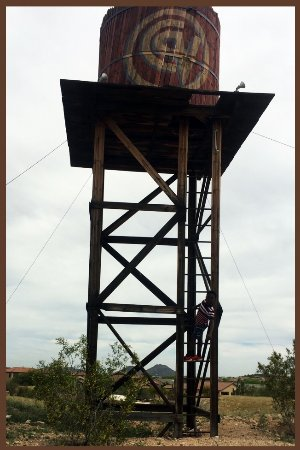 Peoria, AZ: Old water tower of western town on grounds.