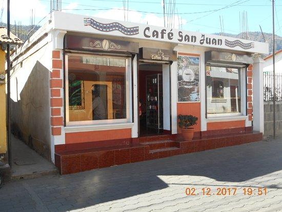San Juan la Laguna, Guatemala: Front of Cafe San Juan
