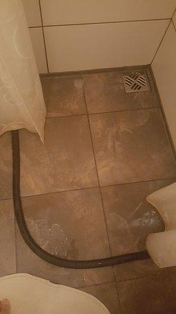 Guesthouse Vellir: Sistema para evitar que el agua se expanda por todo el baño. Funciona mas o menos...