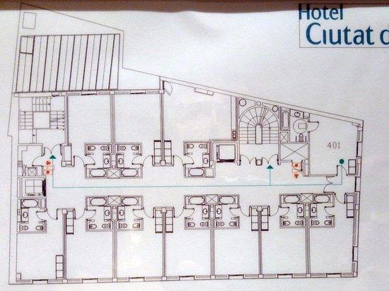 Hotel Ciutat de Girona: план расположения номеров