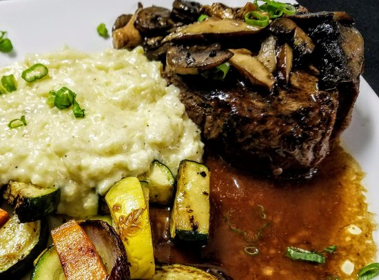 Eagle River, WI: Filet, creamy risotto and charred vegtables