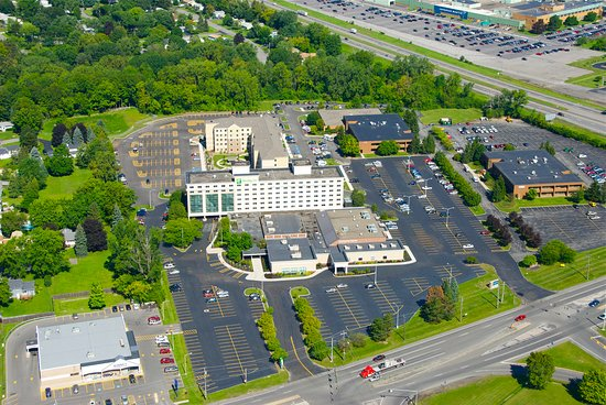 Liverpool, NY: A birdseye view of our property, including our convention space.