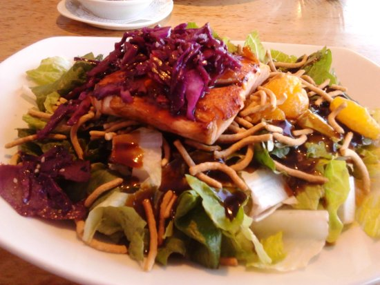 RockBass Grill: Their Famous Hoisin Salmon Salad! Flavorful Bite Every Time!