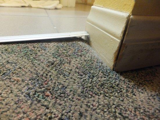 Tecopa, Калифорния: Metal strip at edge of carpet popping up at the corner