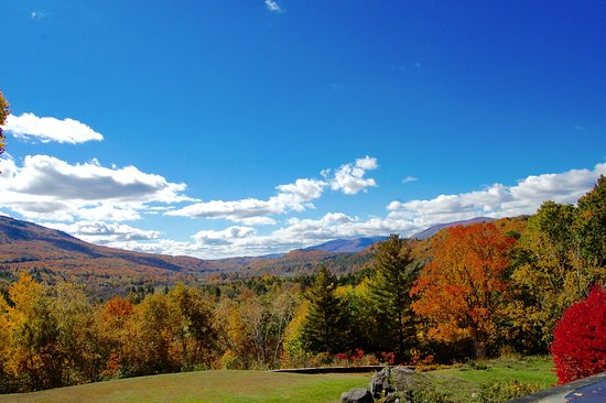Manchester, VT: Wilburton Inn: Autumn View of the Battenkill Valley, from the Mansion Bedrooms