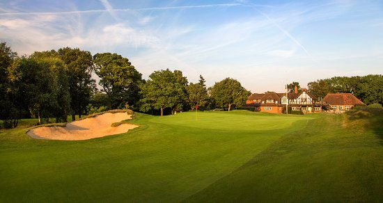 Oxted, UK: The approach to the clubhouse on 9