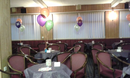 Carnforth, UK: Decorated for an 80th birthday party.