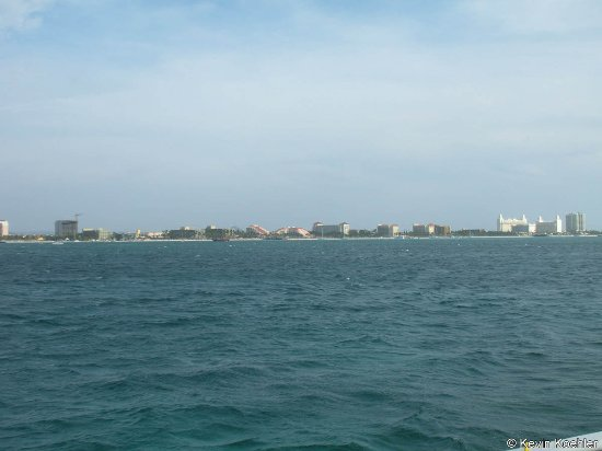 The Antilla: A view from the Catamaran towards the hotels and resorts.