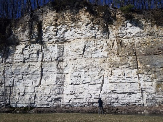 Spring Valley, MN : Can really se the scale of the cliff with the person standing there