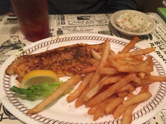 Gastonia, NC: Broiled flounder with french fries and cole slaw