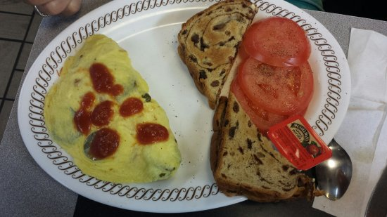 Arnold, MO: Jalepeno and cheese Omlette with tomatoes instead of hash browns.