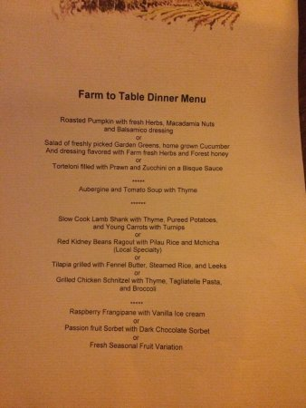 Karatu, Tanzania: Some of the extraordinarily delicious daily menus at Gibbs Farm. Real Farm-Table!