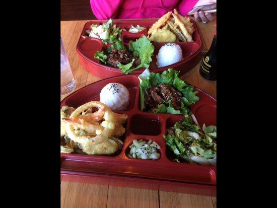 Oishi: Bento Boxes with teriyaki steak and tempura.