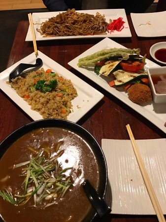 hiko-A-mon Modern Japanese Sushi Bar & Fish Market: Yaki Soba, Beef Curry Udon and Grilled vegetable with extra Fried veggie rice