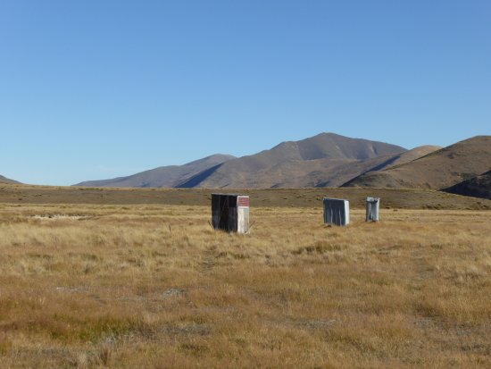 Waimate, New Zealand: A choice of long drops! A real loo with a view.