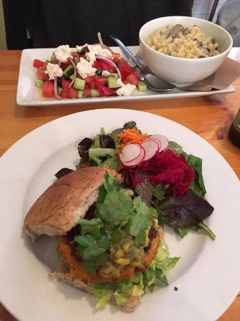 St. Catharines, Canada: sweet potato burger, mac and cheese and watermelon cucumber salad