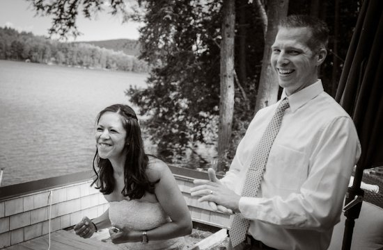 Chestertown, NY: Just Married on the boat house deck