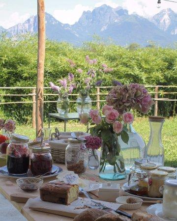 Colazione Villa 61 nella terrazza Nord con vista sulle Dolomiti ...