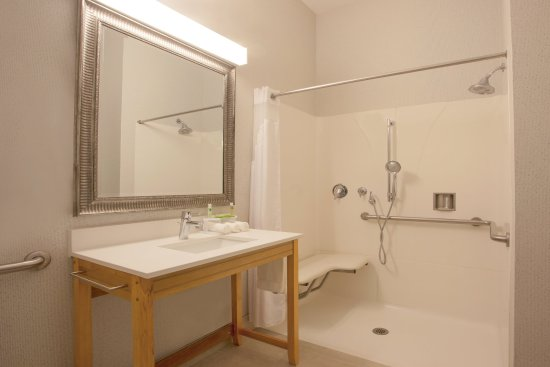 Davis, Californië: ADA/Handicapped accessible Guest Bathroom with roll-in shower