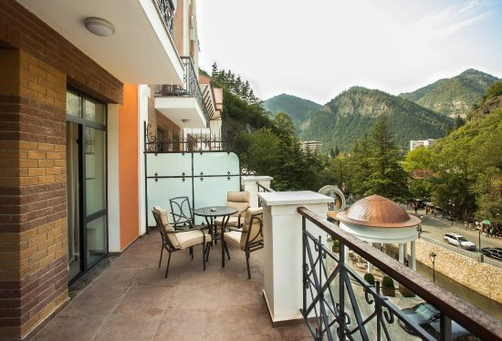 The balcony overlooking Borjomula river at Crowne Plaza Borjomi (247704618)