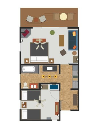 Groveland, Καλιφόρνια: Villa King Double Twin Floor Plan