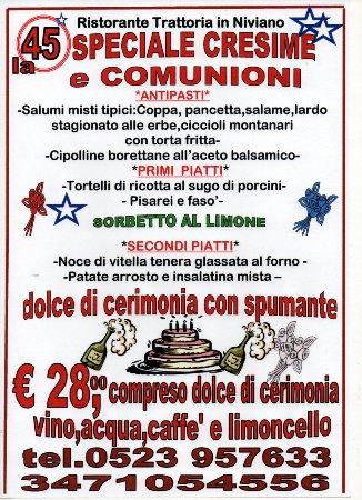 Rivergaro, Italie : menu' di qualita'per il giorno di festa tutto compreso