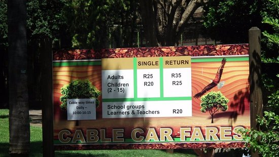 National Zoological Gardens of South Africa: Cable car fares