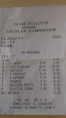 Restaurant Sicilia Eindhoven: L'addition