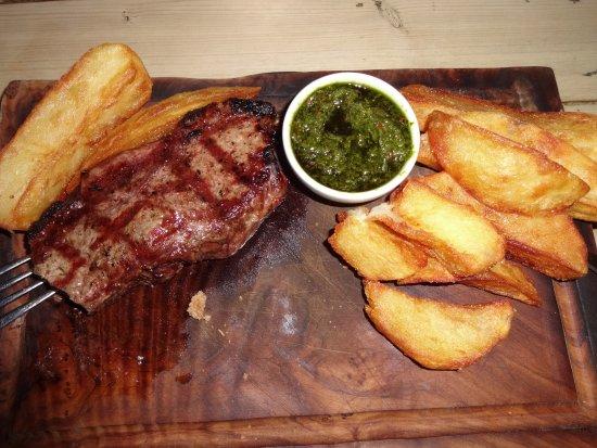 Ticehurst, UK: 28 day matured sirloin steak, chimichurri & chips £20